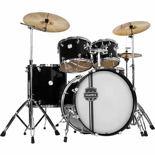Mapex Voyager Rock 5-Piece Drum Set with Cymbals, Black
