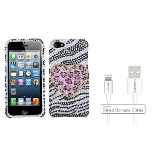 Insten Playful Leopard Diamante Case For iPhone SE / 5S / 5 (  Apple Certified Lightning to USB Cable)