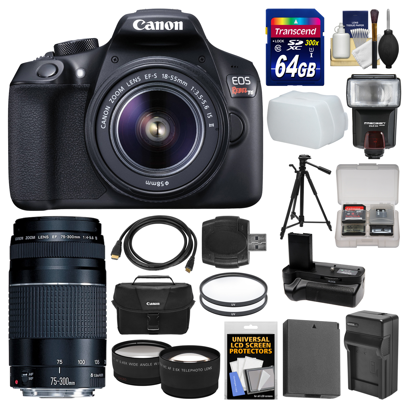 Canon EOS Rebel T6 Wi-Fi Digital SLR Camera & 18-55mm IS II + 75-300mm III Lens + 64GB Card + Case + Flash + Battery & Charger + Grip + Tripod Kit