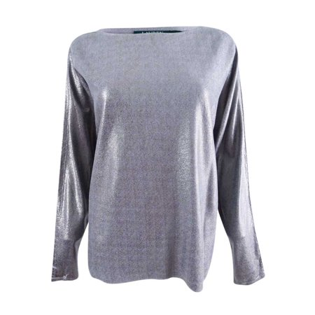 RALPH LAUREN Womens Silver Long Sleeve Crew Neck Top Size: M