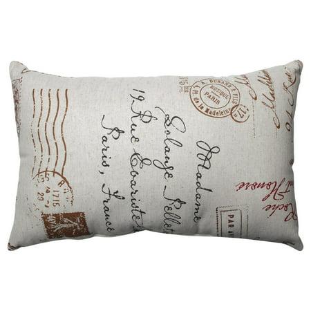 Pillow Perfect French Postale 18.5 x 11.5 in. Retangle Throw Pillow - -