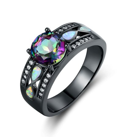 Rainbow Aura Quartz - Peermont Jewelry Rhodium Plated Rainbow Quartz Fire Opal Ring