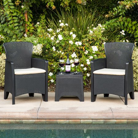 Best Choice Products 3-Piece Weather-Resistant Resin Patio Bistro Conversation Furniture Set w/ Side Table, 2 Armchairs