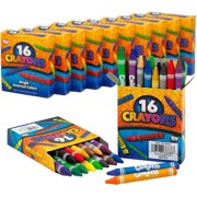 Kicko Crayon Set - 12 Packs with 16 Pieces Assorted Coloring Wax Sticks in Each Pack - Total of 192 Crayons - School and Office Supplies, Arts and Crafts, DIY Projects, Painting, Color Collection