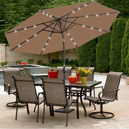 ZENY 10 ft Patio Umbrella LED Solar Power, with Tilt Adjustment and Crank Lift System, Perfect for Patio, Garden, Backyard, Deck, Poolside, and More (Solar LED - Tan) ()