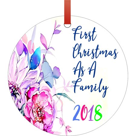 Ornament 1st Christmas Family 2018 Round Shaped Flat Semigloss Aluminum Christmas Ornament Tree Decoration - Unique Modern Novelty Tree Décor Favors