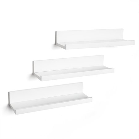 3 Shelf Wall - Set of Three - 14 Inch White Floating Wall Shelves