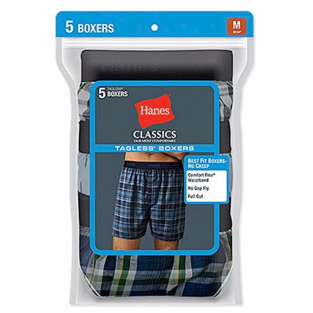 Hanes Classic Mens Yarn Dyed Exposed Waistband Boxer