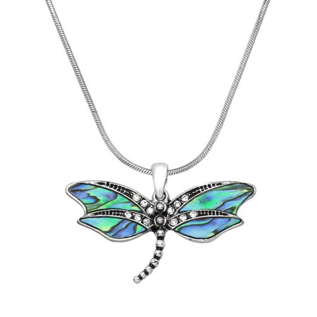 Abalone Dragonfly Pendant Necklace Rhodium High Polished J0438