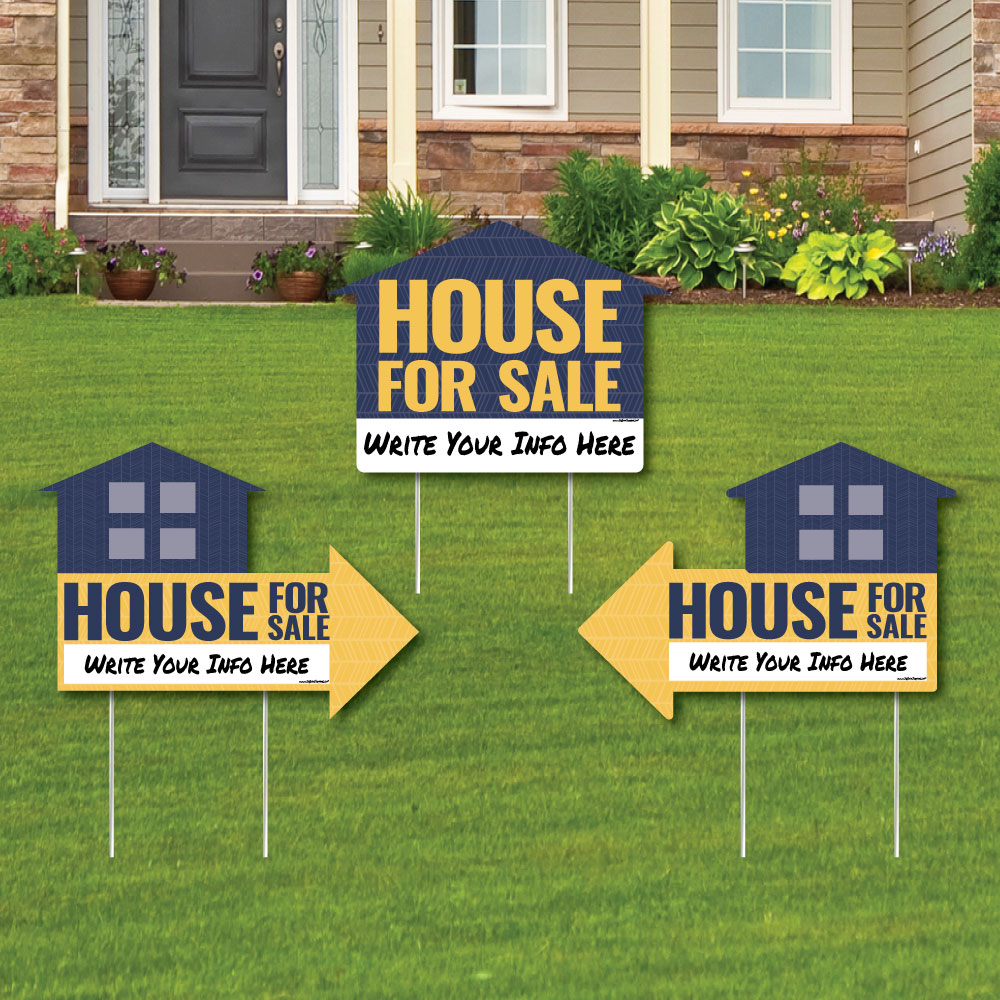 House For Sale Sign - Yard Sign with Stakes - Double Sided Outdoor Lawn Sign - Set of 3