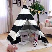 Giant Canvas Kids Teepee Play Tent, Black Stripes