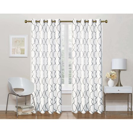 2 Pack: Regal Home Collections Geo Lattice Semi Sheer Grommet Top Curtain Panels With a Satin Backing For Privacy - Gray, 84 in. Long (Lattice Privacy Panels)