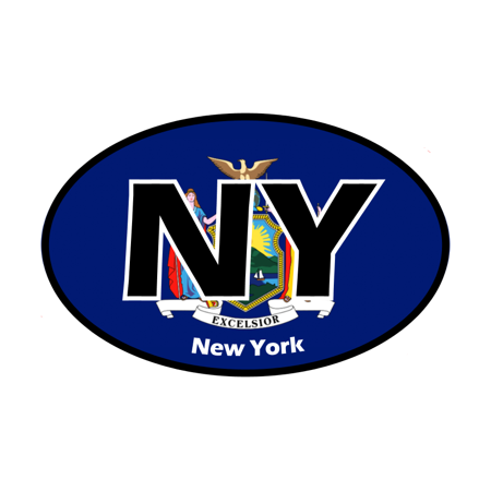 Pack Laser Stickers Flag Design - Oval Stickers - New York State Flag - Set of 4