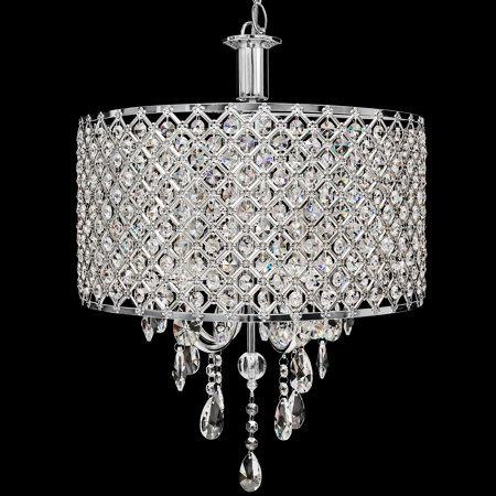 Best Choice Products 4 Pendant Dining Room Light Crystal Drop Modern Chandelier