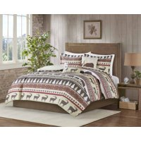 MarCielo 5 Piece Luxury Rustic Lodge King Comforter Set Christmas Comforter Set Montana (King)