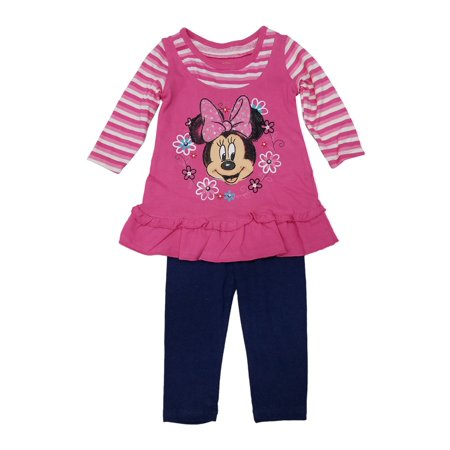 Disney Baby Girls Blue Pink Minnie Floral Print 2 Pc Legging Outfit