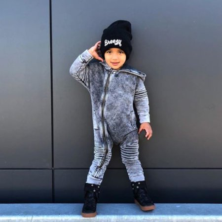 Newborn Baby Boy Denim Hooded Long Sleeve Romper Pants Kids Clothes 0-3T - image 4 de 5