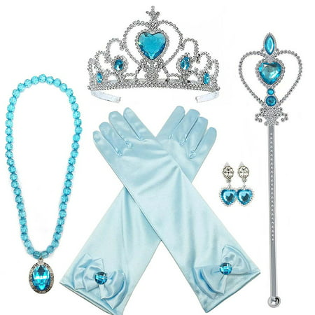 Princess Dress up Party Accessories - 5 Piece Gift Set: Tiara, Wand, Earring, Necklace and - Granny Dress Up Ideas