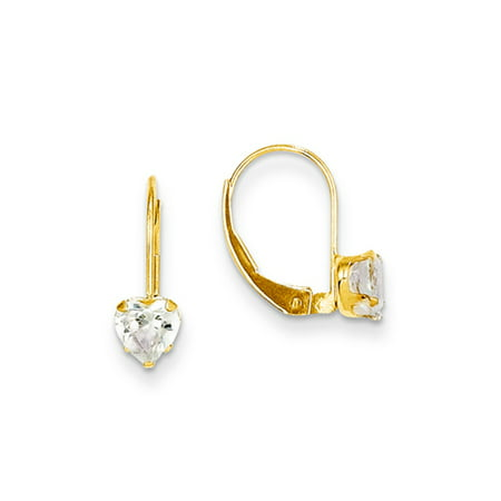 Childrens 14k Gold Heart Earring (Kids 14k Yellow Gold & Clear CZ 5mm Heart Shaped Lever Back Earrings)