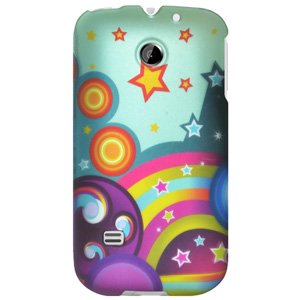 Rubberized Protector Back Case Slim Designed Snap On Cover for Huawei Summit U8651, Huawei Prism U8651, Huawei Ascend II M865 - Rainbow Stars