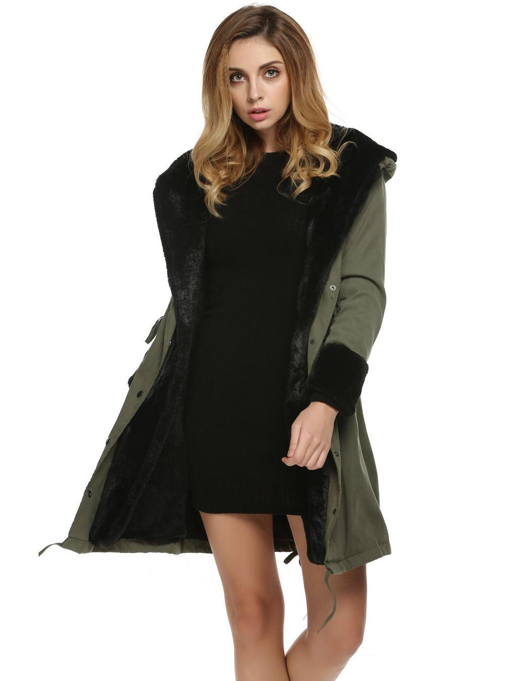 Womens Long Sleeve Winter Parka Thick Faux Fur Hooded Coat Jacket Overcoat by