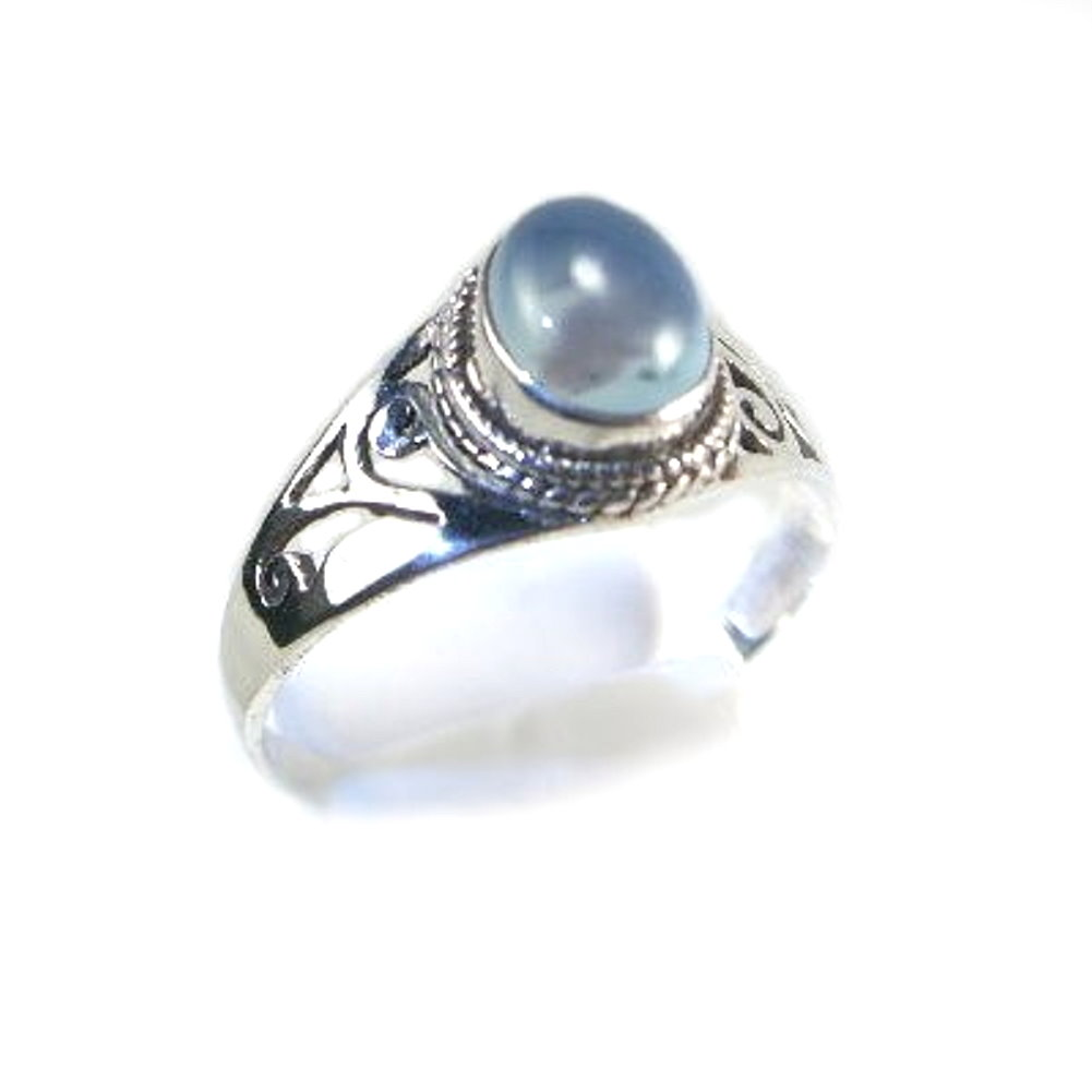Blue Chalcedony Sterling Silver Ring, Round Stone Size 6.5 by unknown