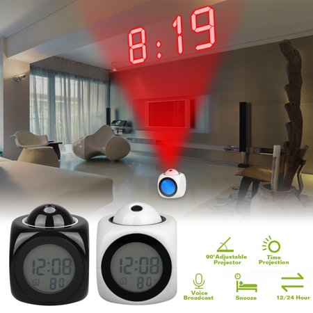 Projection Alarm Clock, Digital LCD Voice Talking Function, Alarm/Snooze/Temperature Display, LED Wall/Ceiling Projection with Different Time Modes