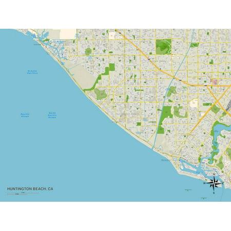 Political Map of Huntington Beach, CA Print Wall Art ()