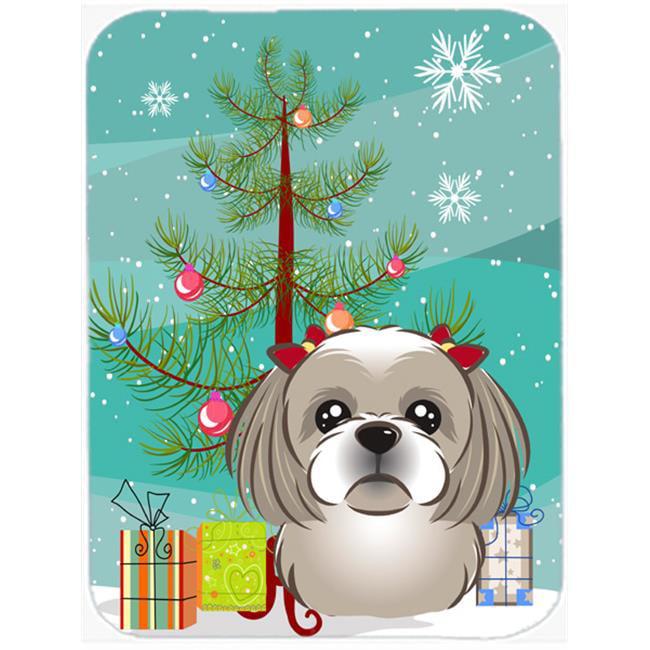 Christmas Tree And Gray Silver Shih Tzu Mouse Pad, Hot Pad & Trivet