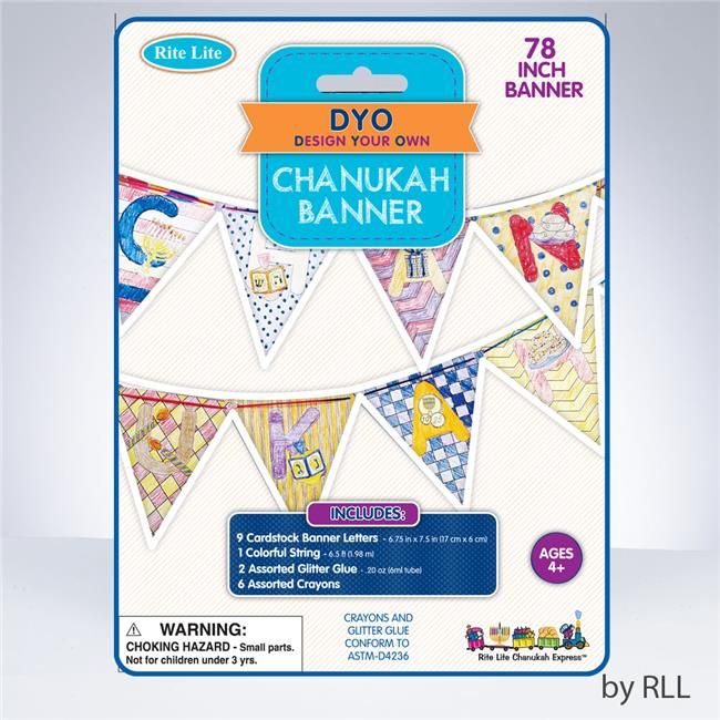 Rite Lite TYK-BANNER Color Your Own Chanukah Banner, 6 Crayons, Glttr,Crded
