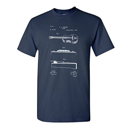 1893 Acoustic Guitar Patent Music Musician Band Vintage Musical Instrument Mens Graphic Tee Adult T-shirt - Mens Guitar Graphic Tee