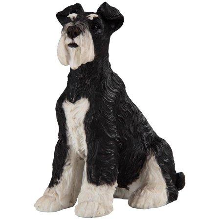 Cute Black and White Schnauzer Dog Puppy Statue Figurine