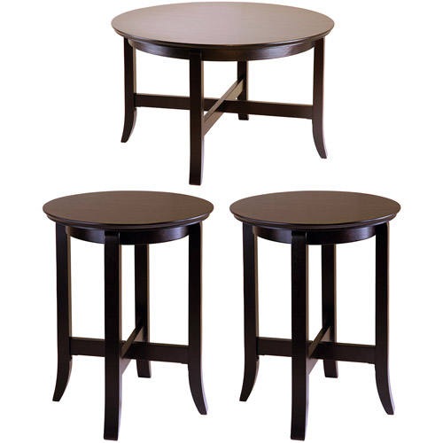 Toby Round 3-Piece Coffee and End Tables Value Bundle, Espresso