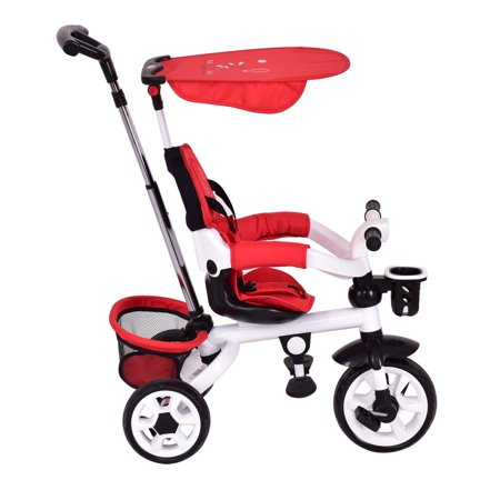 Gymax Red Kids Baby Stroller Tricycle 4-In-1 Detachable Learning Toy Bike w/ Canopy Basket - image 8 of 8