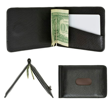 Black Money Clip - Mens Genuine Leather Money Clip Slim Wallet Magnetic Black ID Credit Card Holder