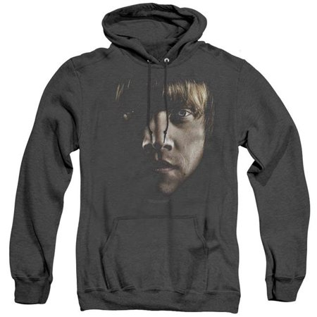 Trevco Sportswear HP8049-AHH-4 Harry Potter & Ron Poster Head Adult Heather Pull-Over Hoodie   Black - Extra Large - image 1 of 1