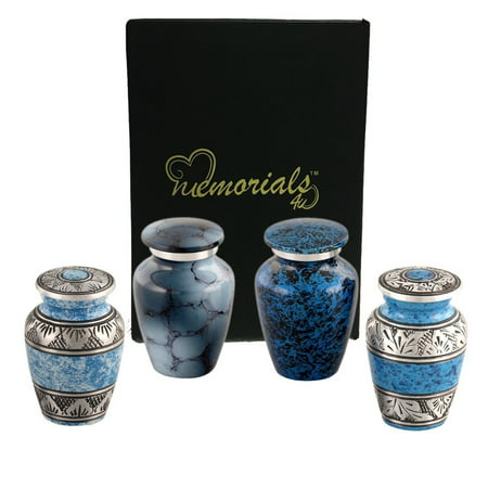 Versailles Urn (Forever in our Hearts Classic Blue Keepsake Urns Set of 4 - Beautiful Shades of Blue Mini Keepsakes - Keepsake Urns - Blue Token Urns - Handcrafted and Affordable Mini)