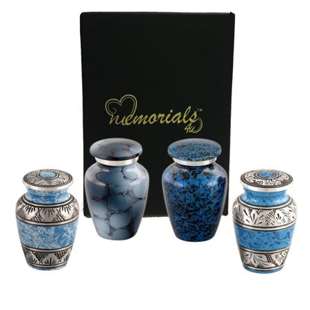 Greenwich Urn - Forever in our Hearts Classic Blue Keepsake Urns Set of 4 - Beautiful Shades of Blue Mini Keepsakes - Keepsake Urns - Blue Token Urns - Handcrafted and Affordable Mini Urns for Ashes - Best Deal