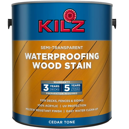 - KILZ Semi-Transparent Exterior Wood Stain, Gallon, Cedar