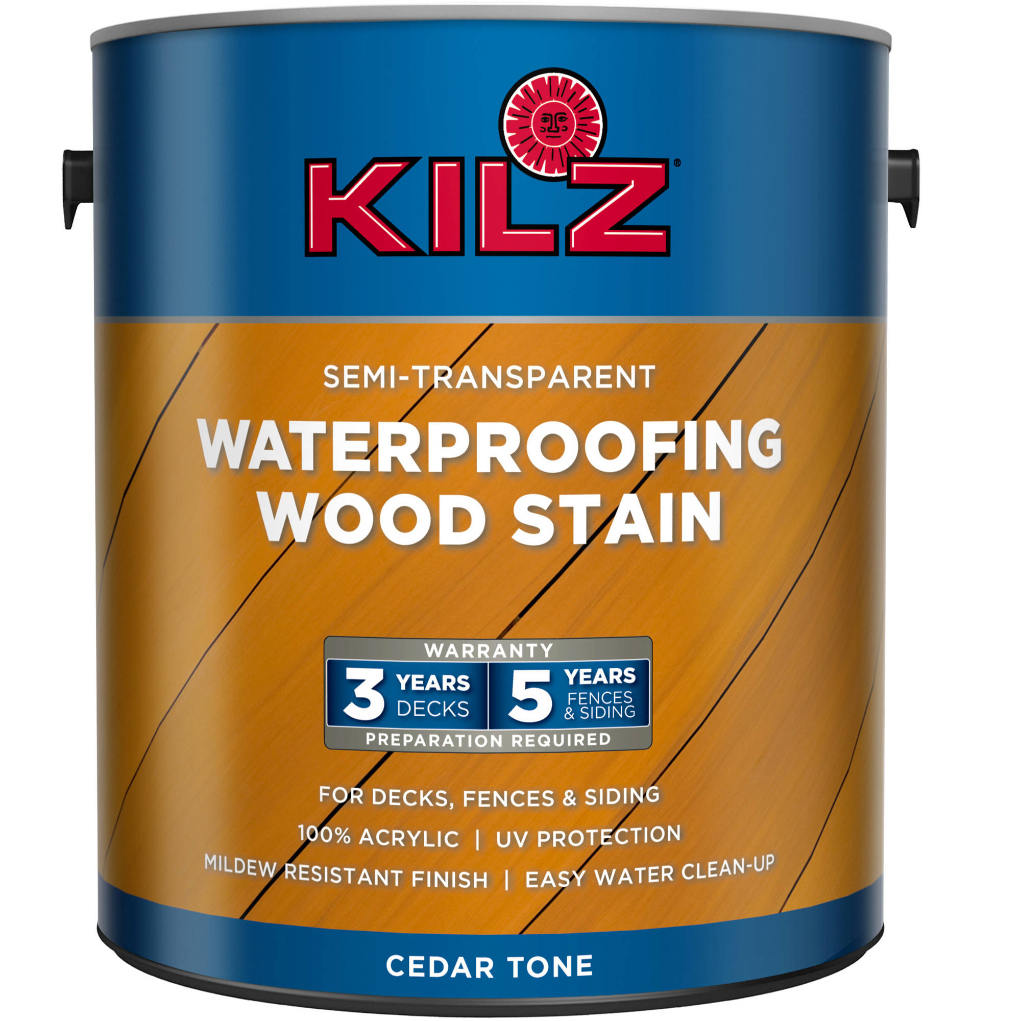 KILZ Semi-Transparent Exterior Wood Stain, Gallon, Cedar