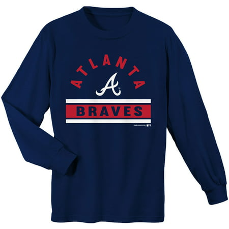 differently 71e0c 0c6c7 Youth Navy Atlanta Braves Basic Long Sleeve T-Shirt
