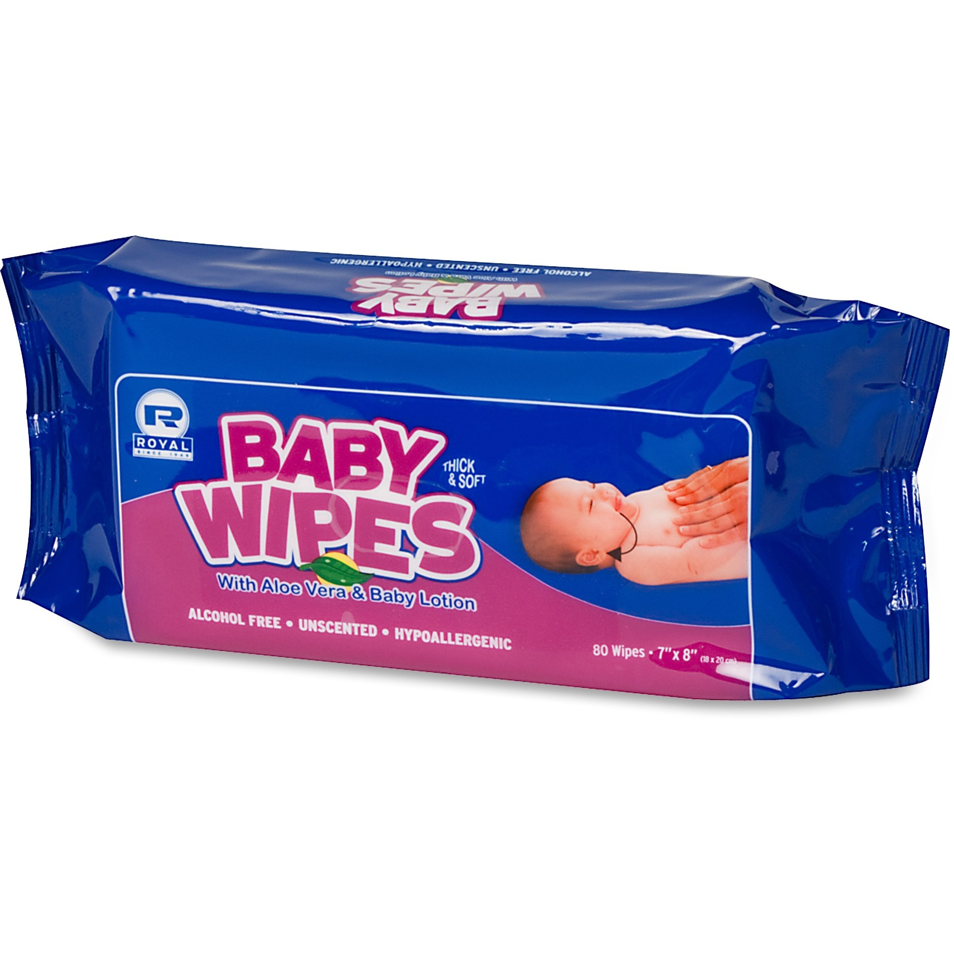 Royal, RPPRPBWUR80, Paper Products Baby Wipes Refill Pack, 960 / Carton, White