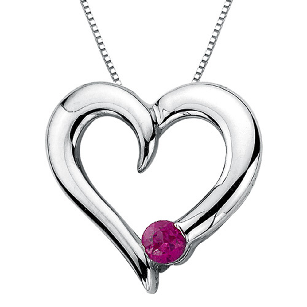Ruby Heart Pendant with Chain in 10K White Gold (1 6 cttw) by Katarina