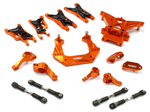 Integy RC Toy Model Hop-ups C25482ORANGE Billet Machined Suspension Kit for Traxxas 1 10... by Integy