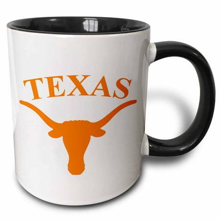 3dRose Texas Longhorn - Two Tone Black Mug, (Ncaa Texas Longhorns Mugs)