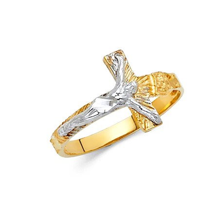- Crucifix Religious Cross Jesus Christ Band 13mm 14k Two Tone Solid Italian Gold Ring Size 7 Available All Sizes