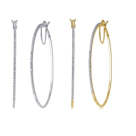 Two Colour Diamond Set (Genuine 0.02 Carat Natural Diamond Accent Hoop Earrings Two Color Sets Crafted In 14K Gold)