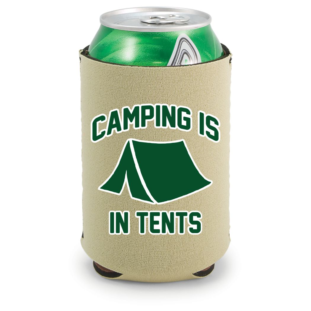 Camping Is In Tents Neoprene Collapsible Can Coolie (Khaki)