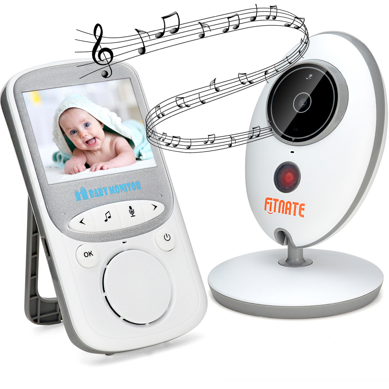 Wireless Video Baby Monitor (Larger 2 Monitor) Digital Camera Night Vision Temperature Monitor