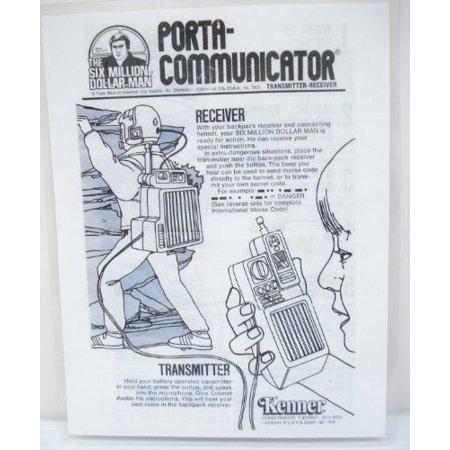 1973/76 Six Million Dollar Man Porta-Communicator Sheet - Copy, Laminated (Dollar Bead)